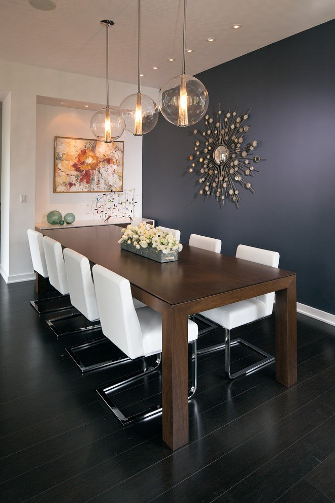 Pleasing Eclectic Dining Table With Rectangular Navy Blue Wall