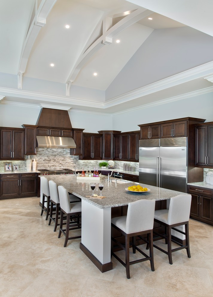 Miami Large Kitchen Island Ideas Traditional With Truss