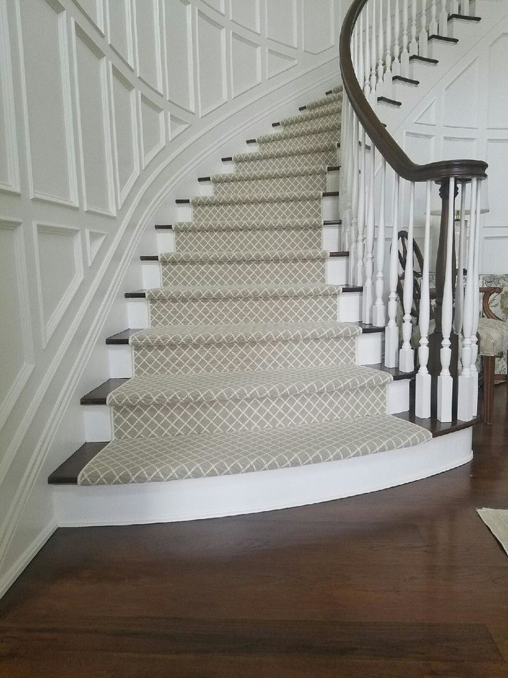 New York Patterned Carpet For Stairs Staircase Traditional With   Designer Carpet Stair Treads   Stair Runner   Non Slip   Oak Valley Designs   Flooring   Wood Grain