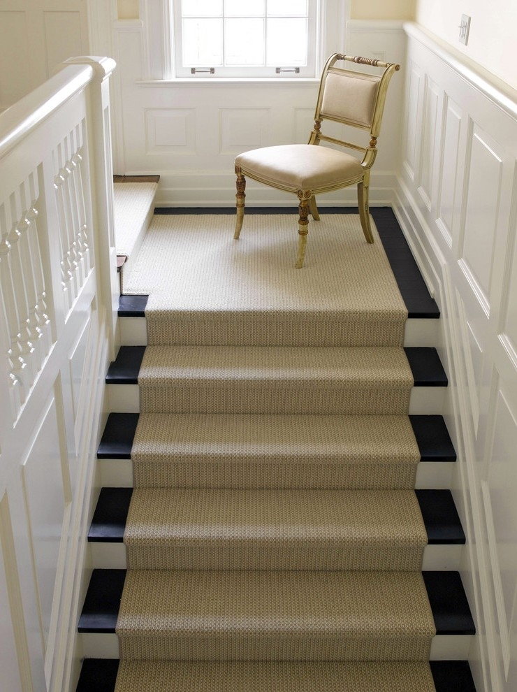Beautiful White Stairs With Runner Staircase Traditional Carpet On   White Stairs With Carpet   Chocolate Brown   Oak   Solid Colour   Colour   Landing