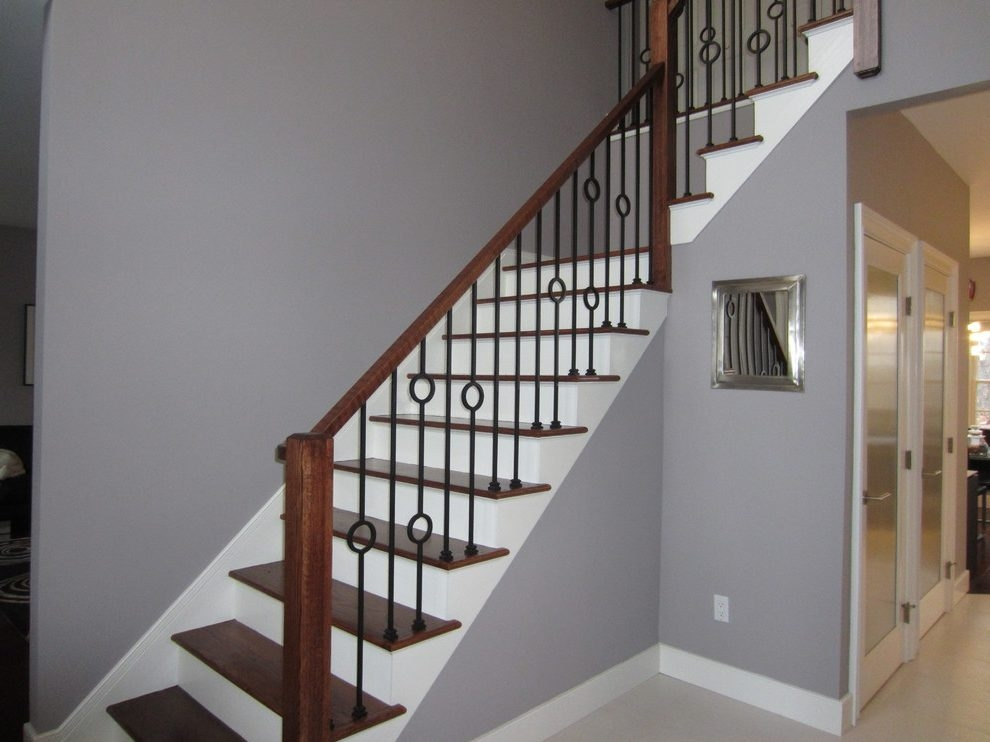 Good Looking Iron Railing Designs Staircase Transitional With | Metal Railing Designs Stairs | Front Porch Stair Railing | Banister | Residential | Caramel | Rustic
