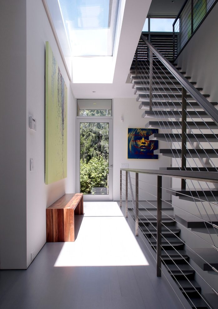 Pleasing Outdoor Stair Railing Hall Entry Contemporary Interior | Outdoor Stair Contractors Near Me | Wood | Stair Railing | Metal | Trex | Spiral Staircase
