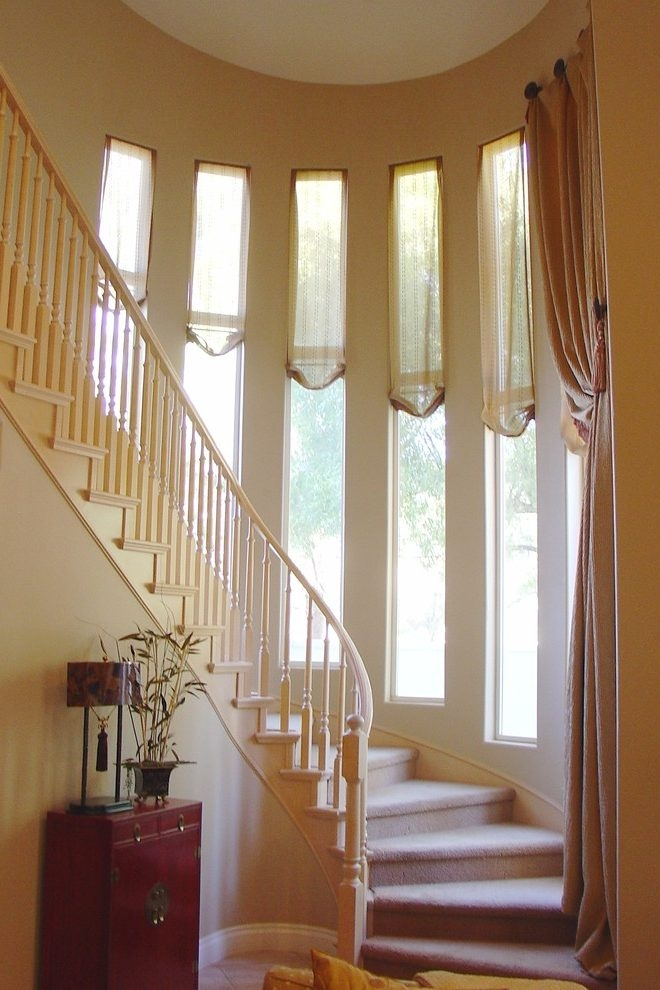 Window Treatments For Tall With Windows And Stair | Modern Staircase Window Design | Architecture | Small House Stair | Section Window | Elegant | Wooden