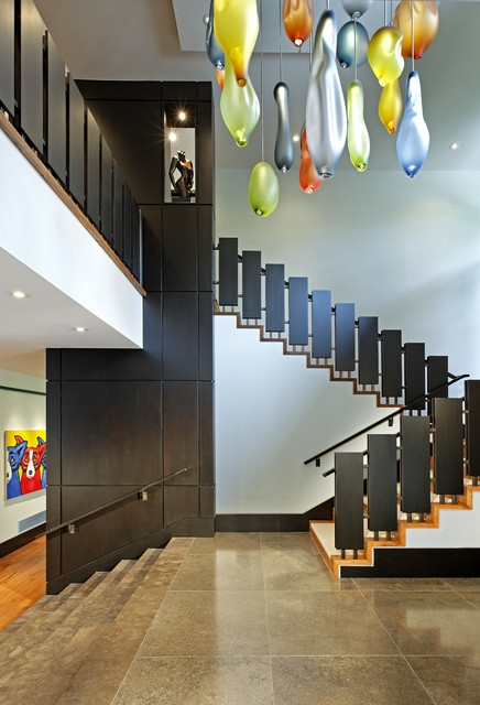 Magnificent Toronto Vertical Wood Paneling Contemporary Staircase   Black Modern Stair Railing   Raised Ranch   Outdoor   Stainless Steel   Colour Combination   Creative Diy