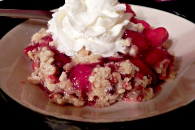 Holiday Dessert:  Cherry-Strawberry Crumble