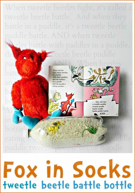 Dr Seuss Activity: Make a Fox in Socks Tweetle Beetle Battle Bottle
