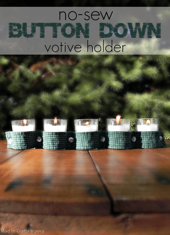 No-Sew Button Down Votive Holder