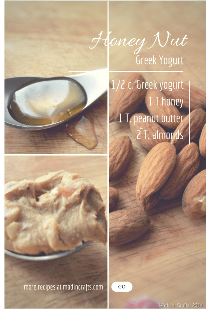almonds, peanut butter, and honey