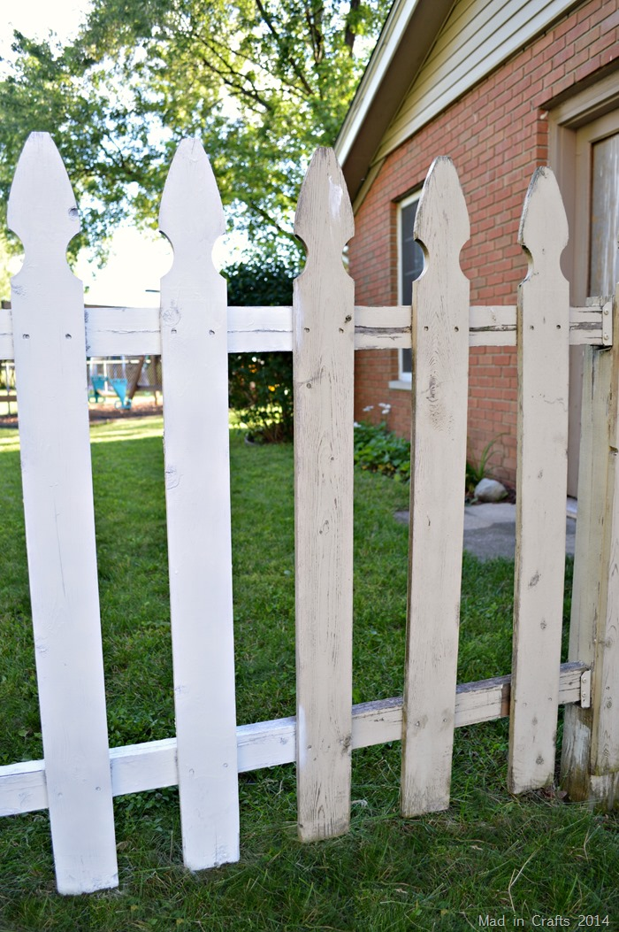 painted and unpainted fence