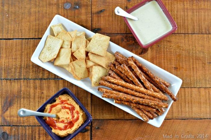 Sriracha Hummus and Spicy Feta Dip