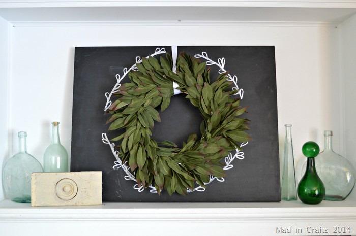 Simple Chalkboard and Wreath Mantel