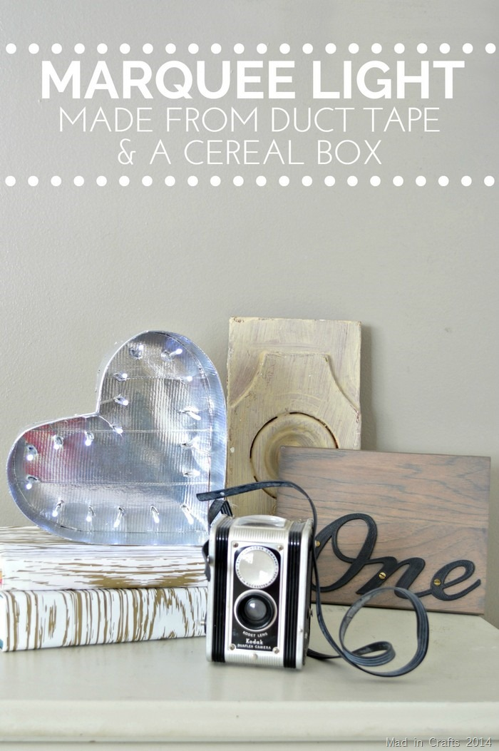 Duct Tape and Cereal Box Marquee Light - Mad in Crafts