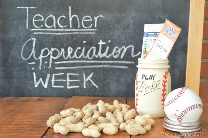 baseball painted mason jar, peanuts, and a baseball on a chalkboard background