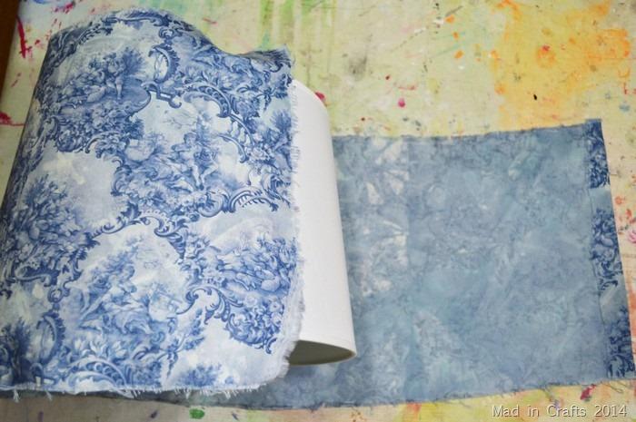 roll fabric onto shade