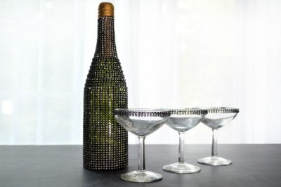 RHINESTONE BOTTLE & CHAMPAGNE GLASSES