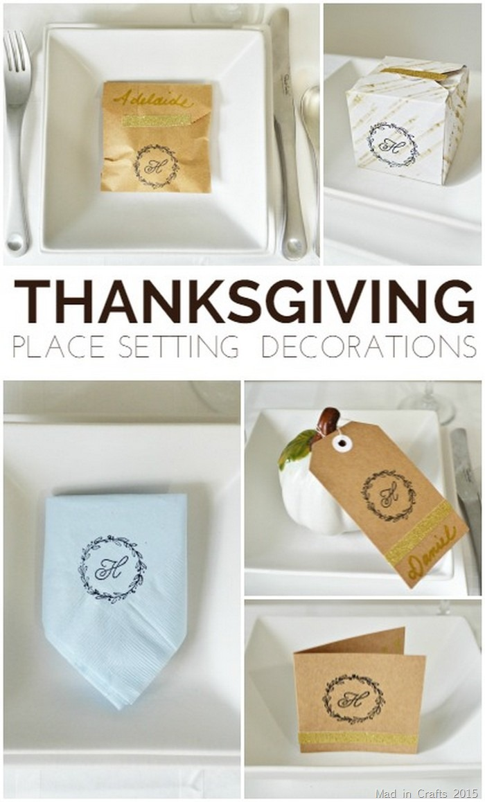 collage of stamped thanksgiving place setting crafts