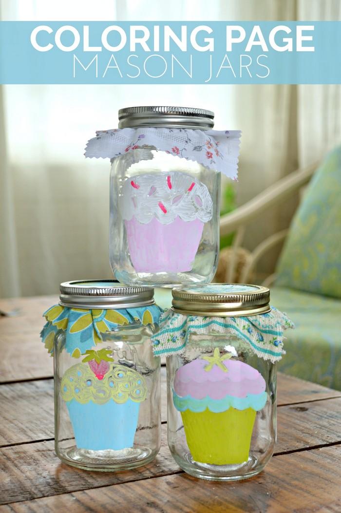 DIY Coloring Page Mason Jars