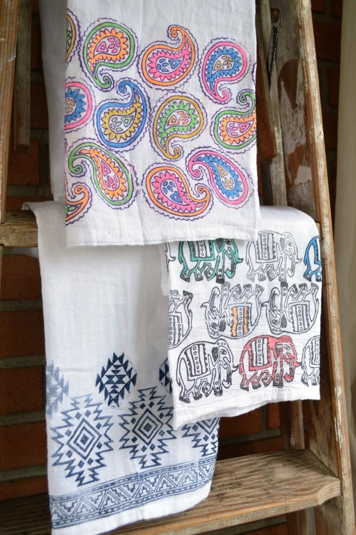 block printed tea towels