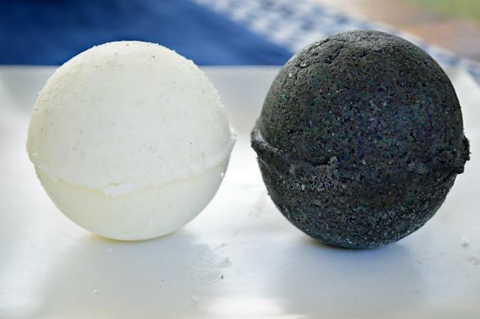 black and white bath bomb closeup