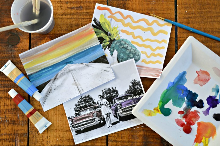 painted black and white photos with watercolor paint and paintbrushes