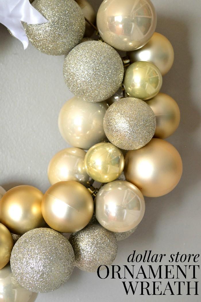 closeup of a gold ornament wreath