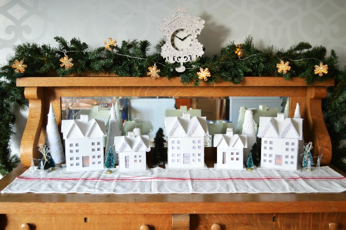 white-paper-mache-christmas-village