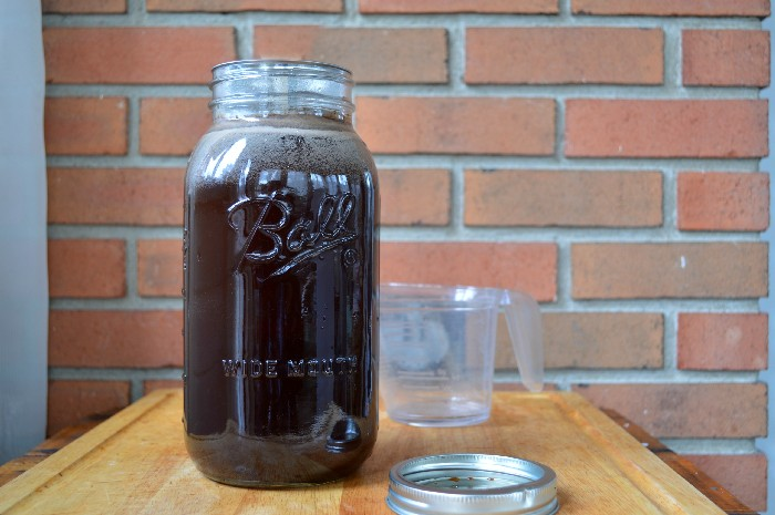 large mason jar filled with cold brew coffee