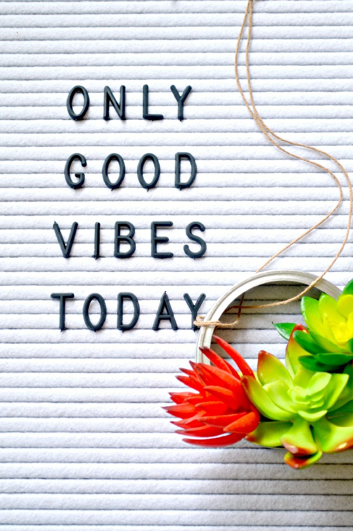 Mason jar ring succulent wreaths on a letterboard that says Only Good Vibes Today