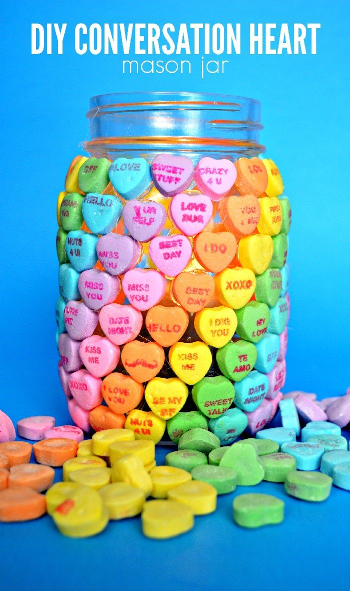 CANDY HEART MASON JAR FOR VALENTINE'S DAY