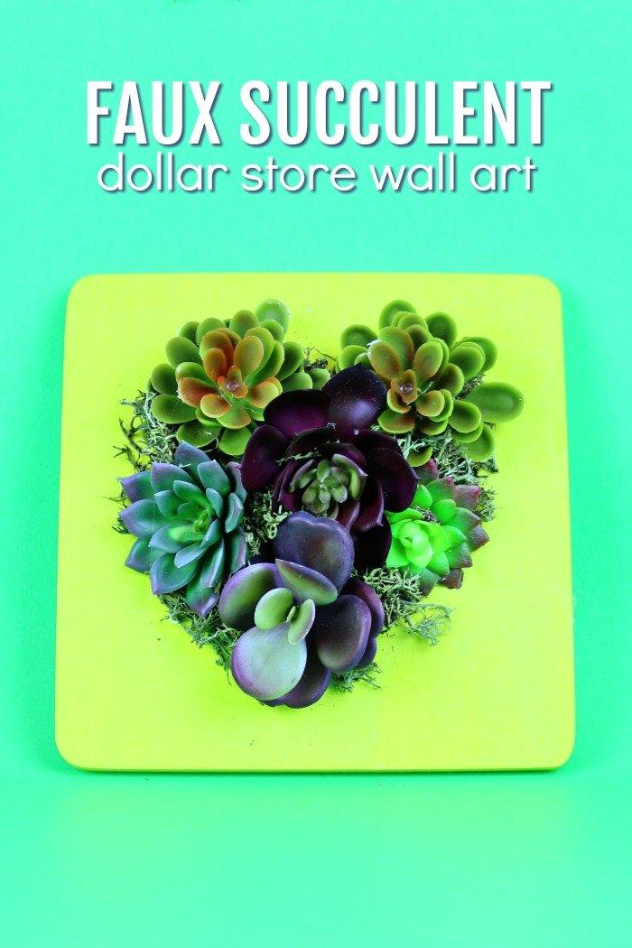 DOLLAR STORE FAUX SUCCULENT WALL ART