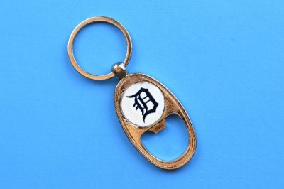 DIY Detroit Tigers bottle opener key chain on a blue background