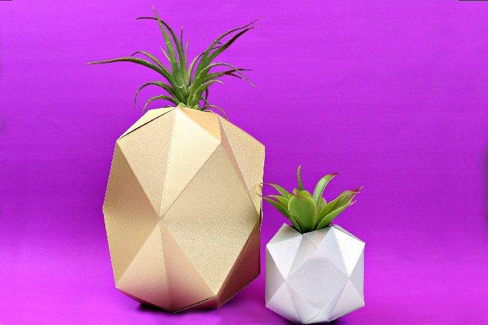 geometric paper vases cut with Cricut machine on a purple background
