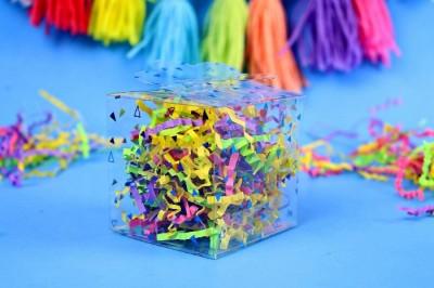 colorful DIY Cricut acrylic gift box with tassel garland
