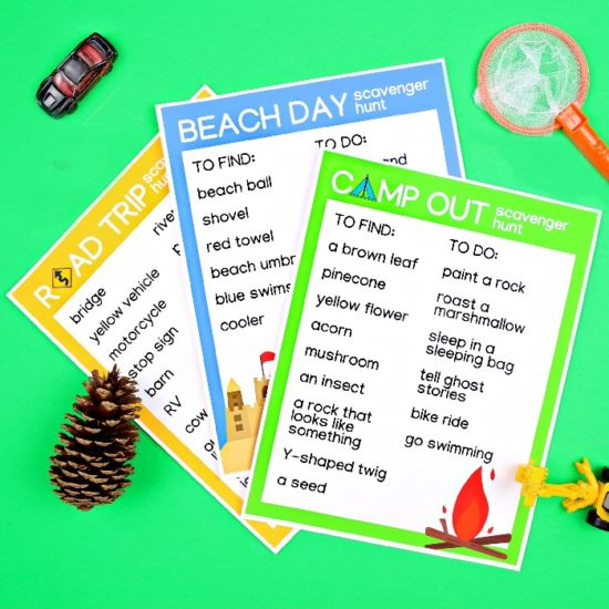 printable summer scavenger hunts with pinecone and toys on a green background
