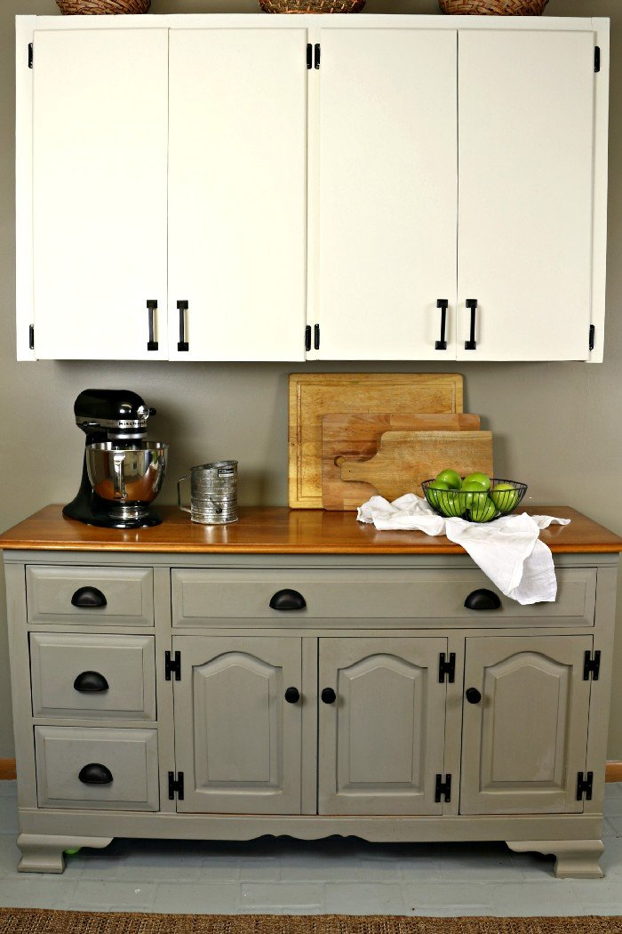 CHALK PAINTED BUFFET WITH FARMHOUSE HARDWARE