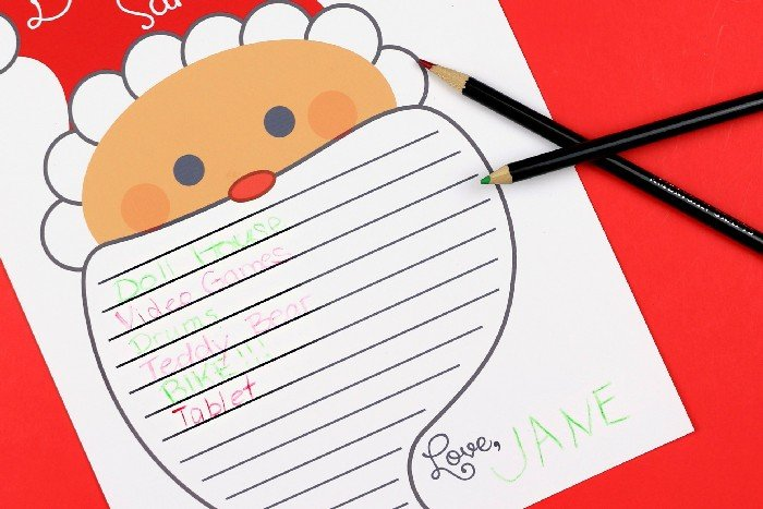 letter to Santa printable with pencils