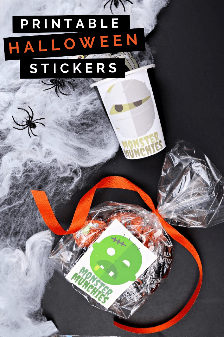 Halloween treat containers with printable stickers and faux spider webs