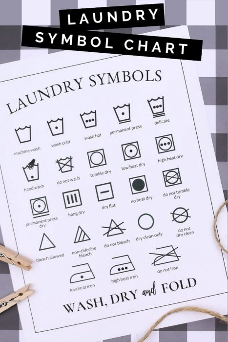 Laundry symbol printable on a plaid background with clothespins and twine