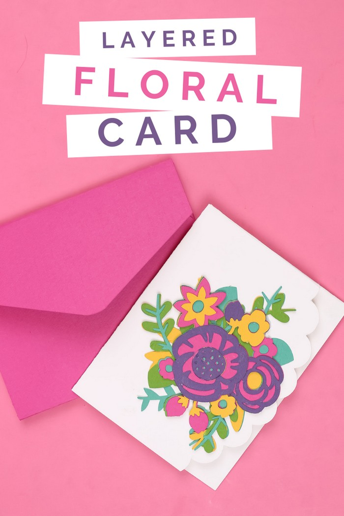 paper cut flower card made with cricut pink envelope