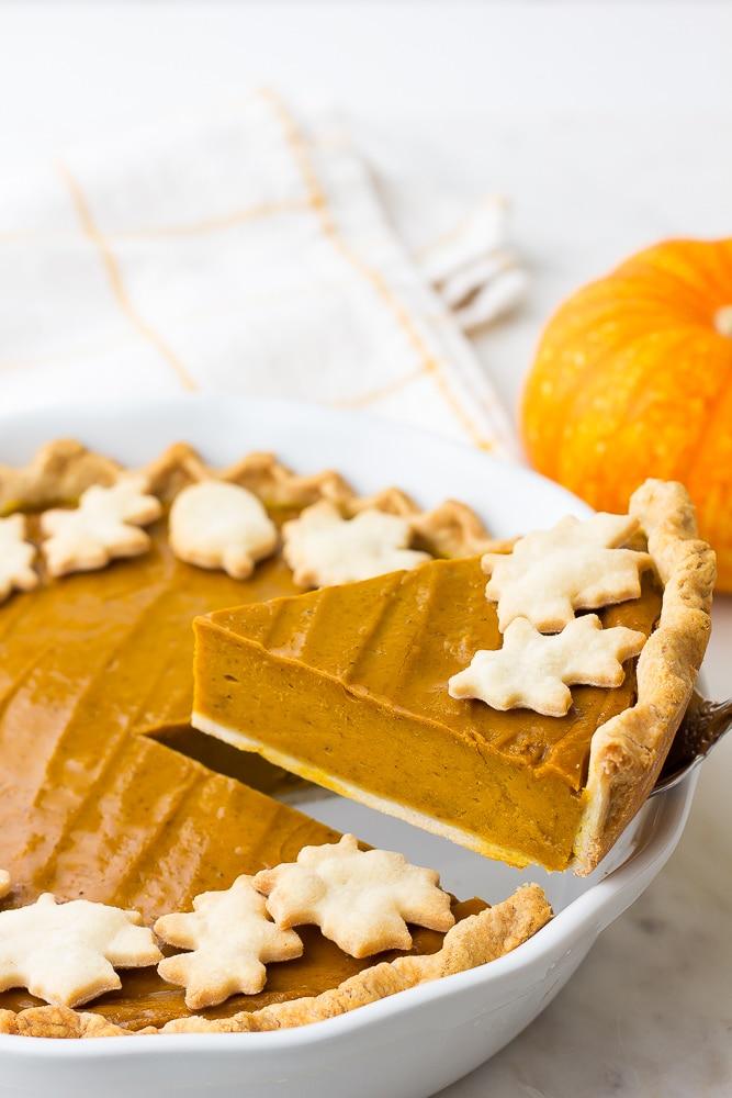 vegan pumpkin pie on a plate