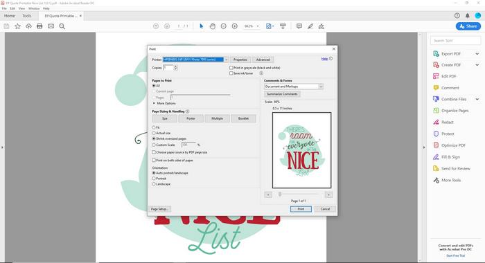 print settings screen