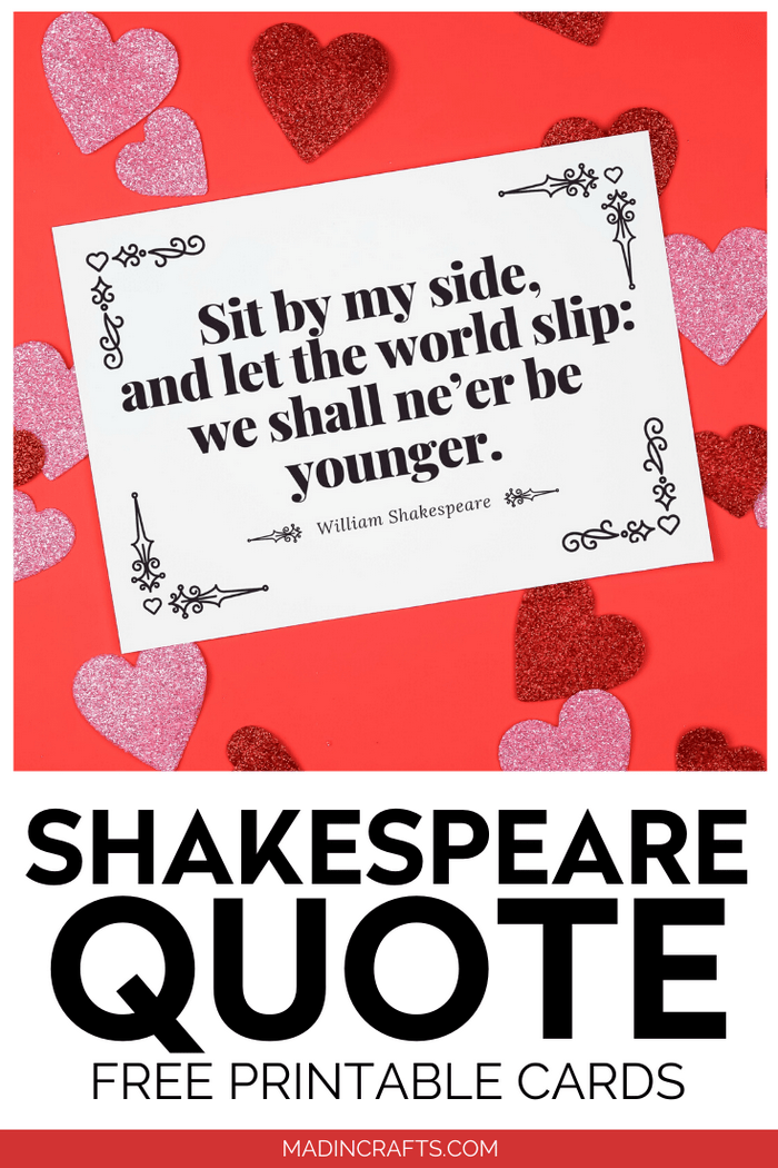 White card with Shakespeare quote on a red background with hearts