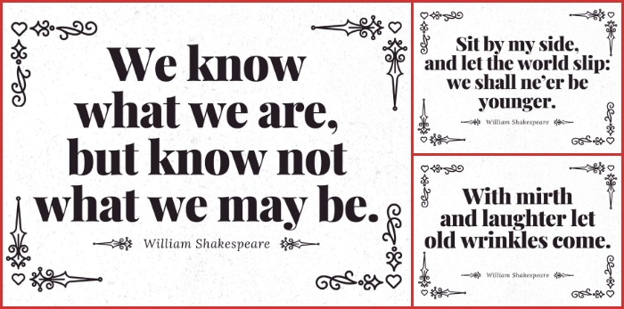 collage of Shakespeare quote Valentine card designs