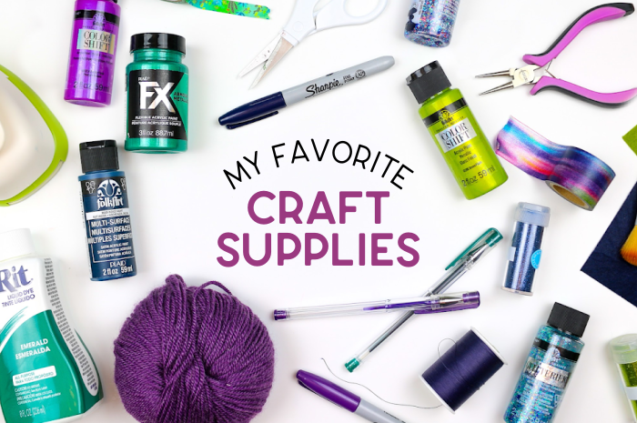 flat lay of craft supplies on a white table