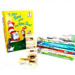 Dr. Seuss Jenga and stack of Dr Seuss books