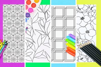 Collage of coloring pages with markers and paints