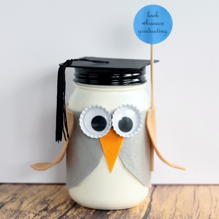 owl with graduation cap painted mason jar on a white background