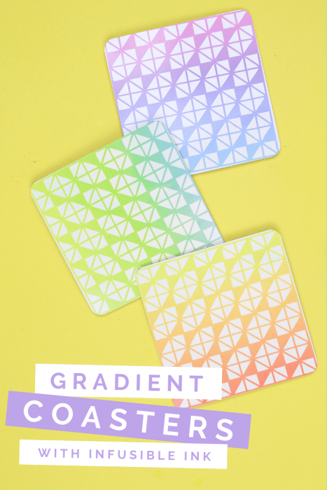 Colorful Cricut Infusible Ink coasters on a yellow background