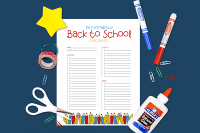 Back to School Checklist printable on a yellow background with school supplies