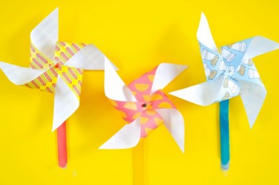 Paper Pinwheels on a yellow background